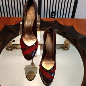 """Nicole Miller, """"Attractive"""" Wine Red Leather Pumps"""